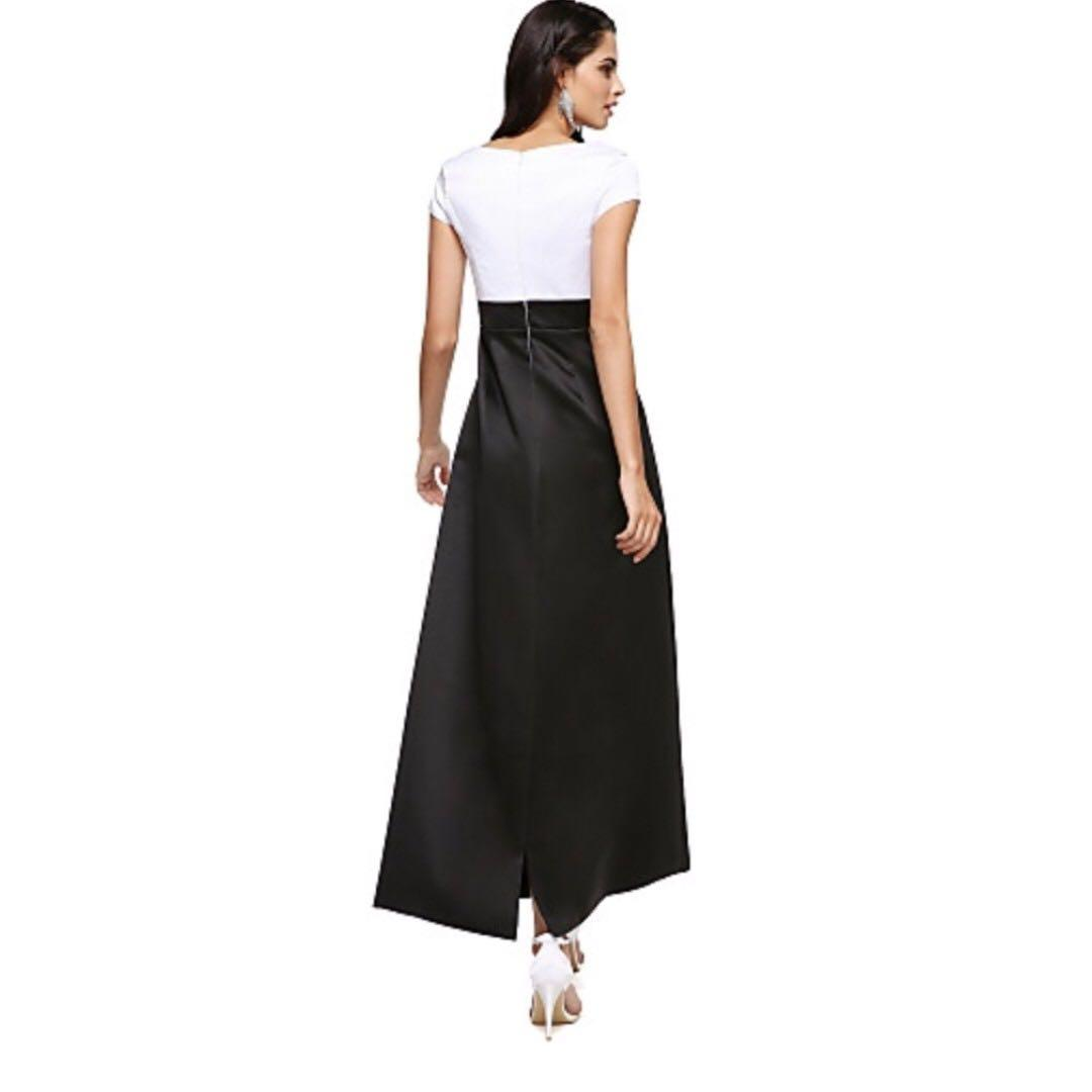 NWT Structured Formal/Evening/Prom Dress A-Line Ankle Length Satin Black & White Color Block Sz 2/4