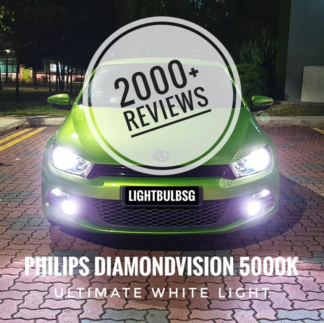 Philips Diamondvision white car headlight bulb for