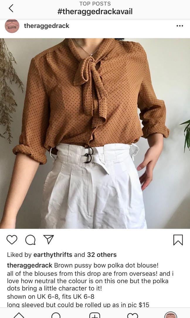 Polka dot pussy bow blouse