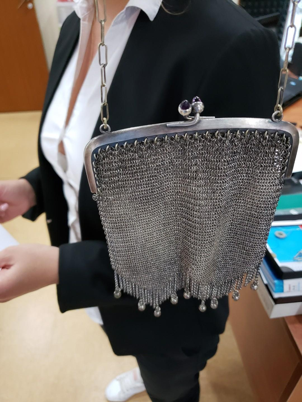 purse chainarmor mesh Silver color, Amethyst stones