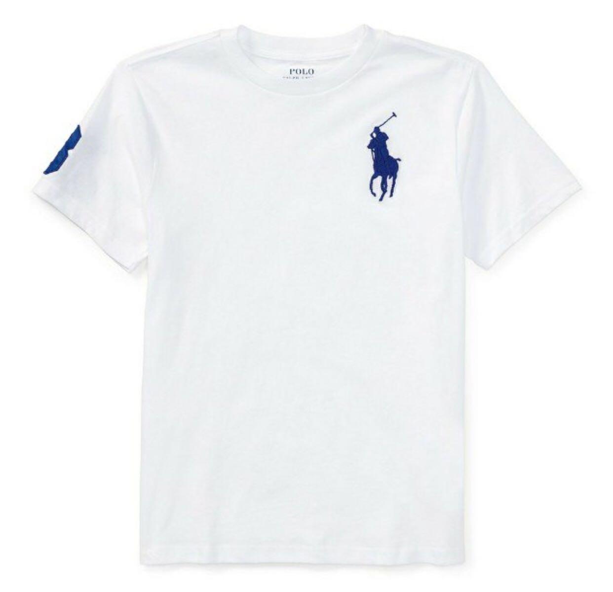 Ralph Lauren rl 大馬素T 青年版 L 白色藍馬polo