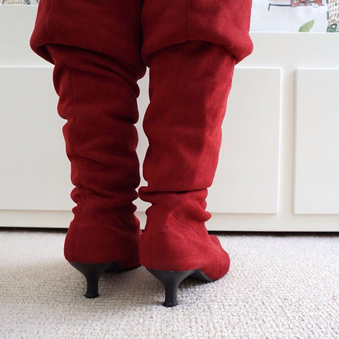 Red faux suede pointed-toe over-the-knee boots #swapAU