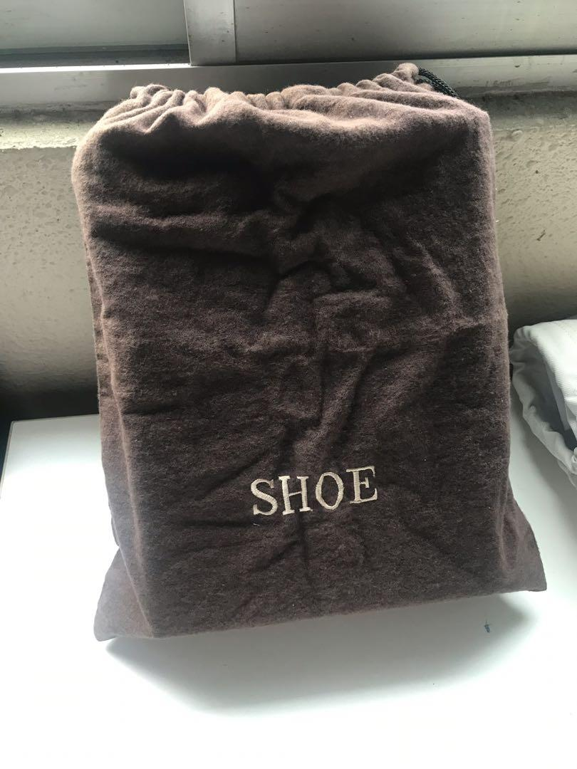 Shoe bag brown felt drawstring