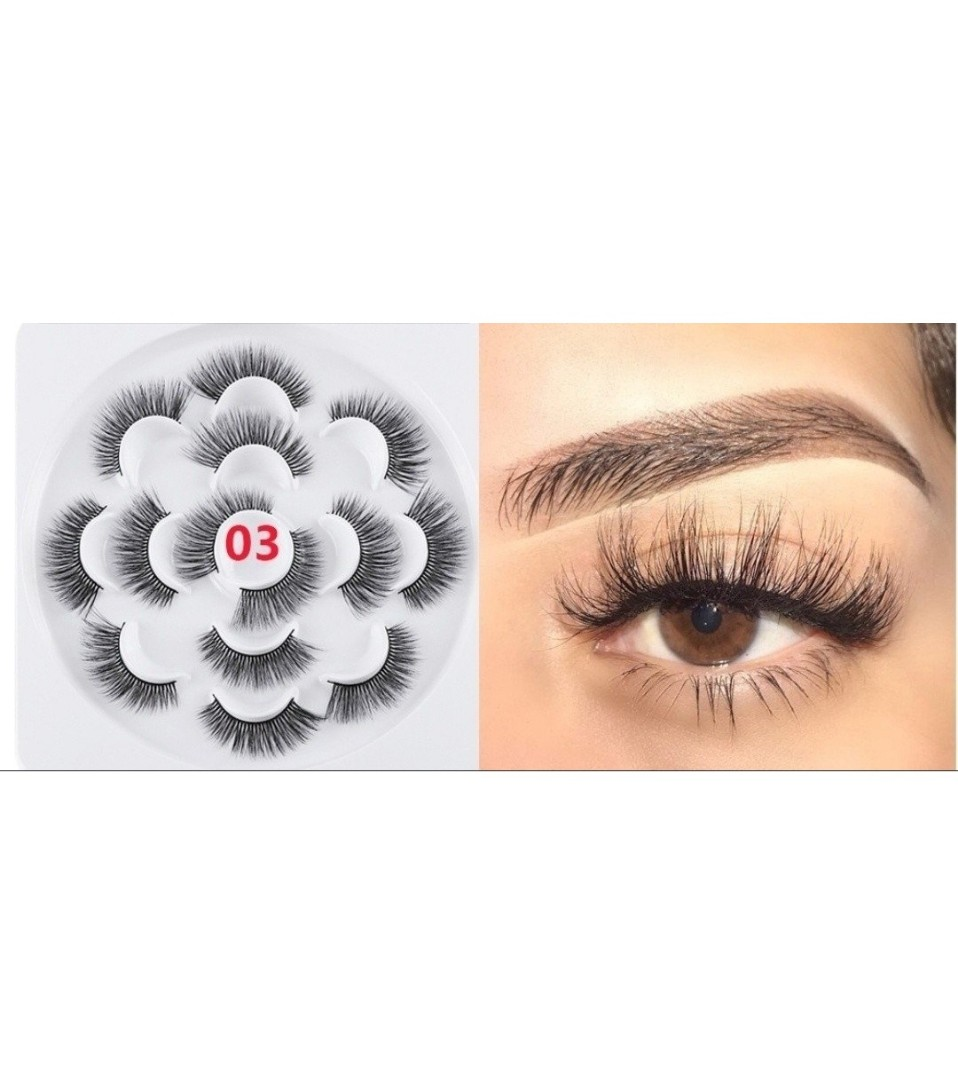 a6201bbb45f Skonhed 7 pairs 3D Faux Mink Hair Fluffy Wispy Natural Long False ...