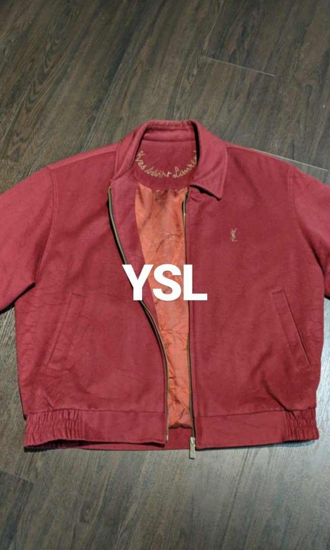 3bad1aa62bc YSL VINTAGE BOMBER JACKET MAROON, Men's Fashion, Clothes, Outerwear ...