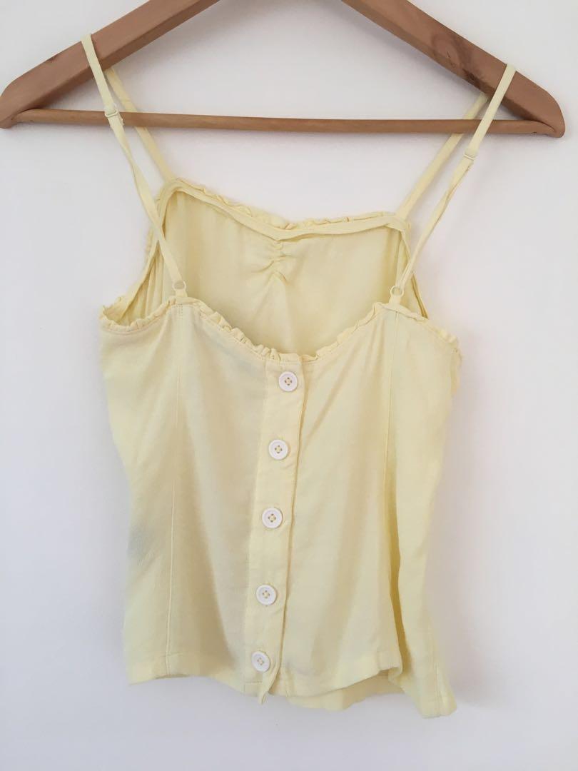 Sportsgirl pale yellow singlet cami top size 6 #swapau
