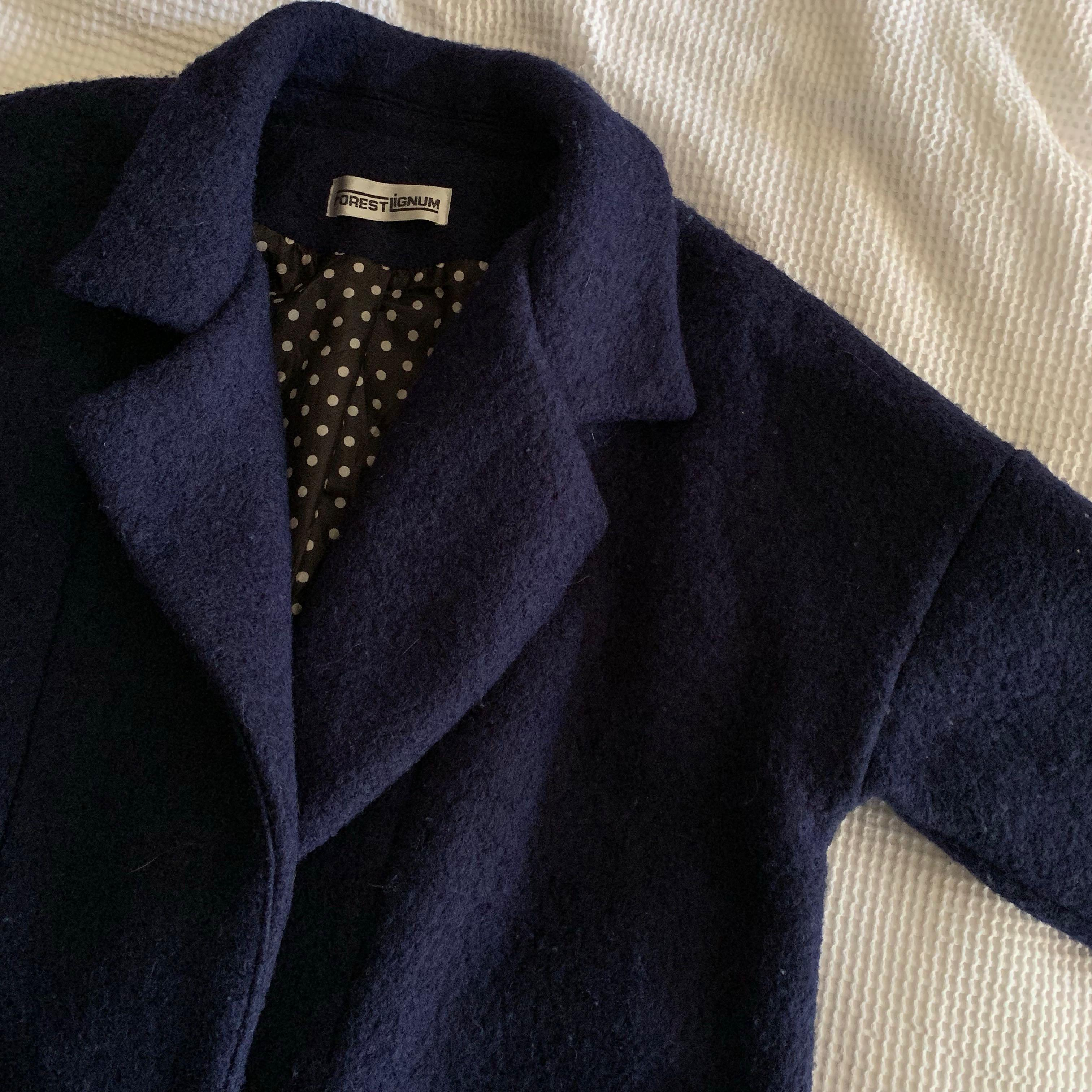 Thick & warm wool blended three quarter sleeves navy cocoon coat with polka dot lining
