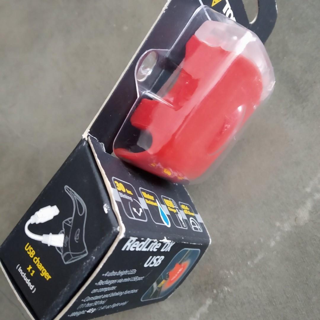 Topeak RedLite DX Red LED Rear Bike Safety Light USB Rechargeable