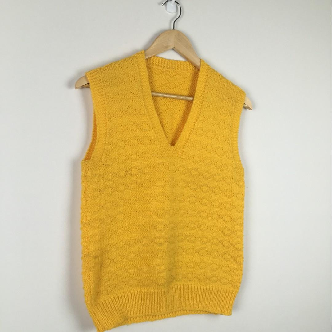 Vintage Sweater Vest Handmade Knit Canary Yellow - Cable Pattern