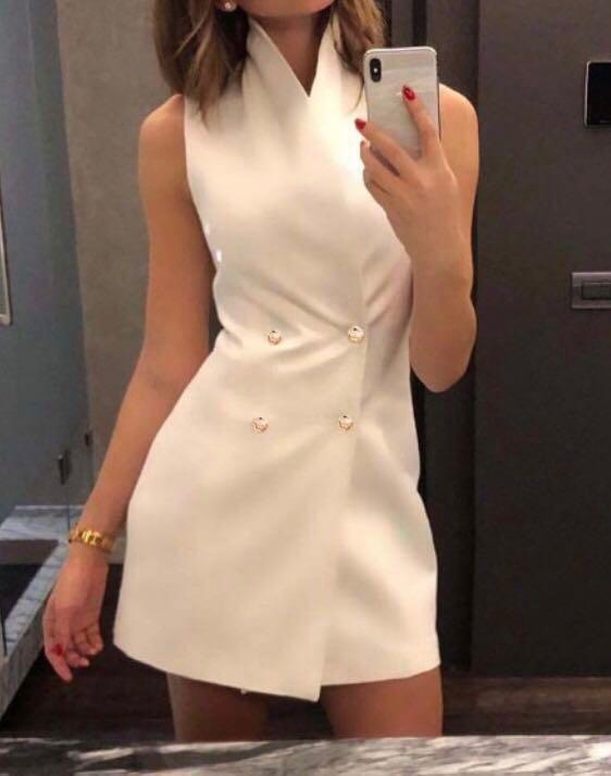White collared blazer dress with button detail