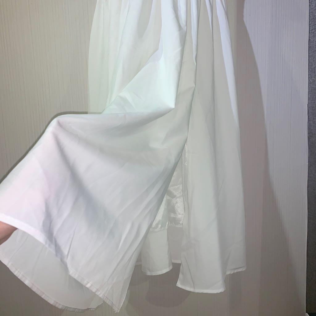 white ruffle slit gown