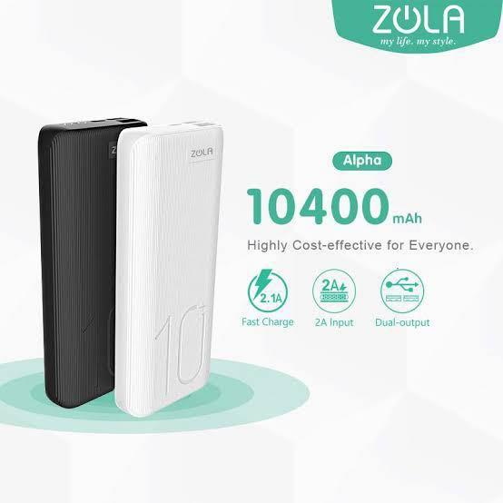 ZOLA Alpha 10400mAh Fast charge 2.1A Dual output -white only
