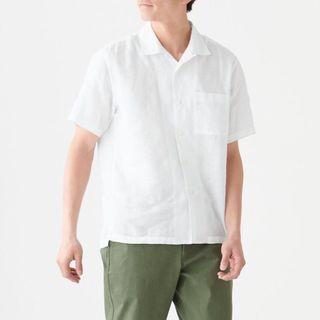 🚚 muji亞麻開領短袖襯衫