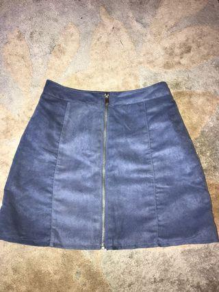 H&M suede blue skirt