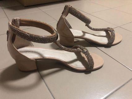 Pazzion Taupe Diamonte Block Heels