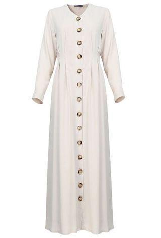 Poplook Osanna Button Down Dress in Beige BNWT