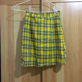 🚚 黃色格紋 窄裙 A字裙