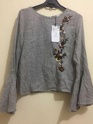 Zara women blouse with embroideri