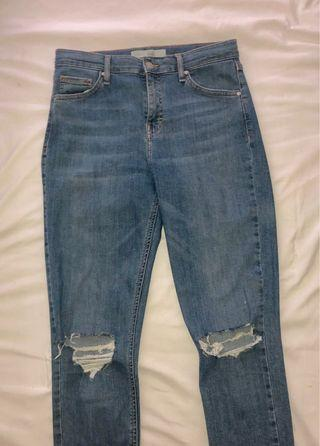 Topshop High Rise Blue Ripped Jeans