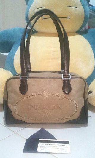 Authentic Prada Brown Canvas Bag
