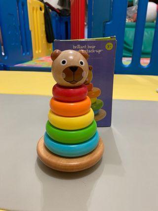 🚚 美國 Manhattan Toys 五彩小熊磁疊 不倒翁 brilliant bear