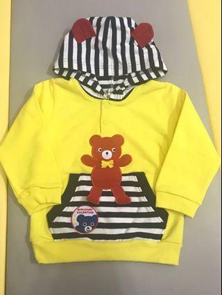 🚚 吉梵尼 范倫鐵諾 黃色 熊耳朵 連帽長袖上衣 內刷毛 90
