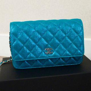 NEW CHANEL iridescent BLUE woc CLASSIC Metallic Goatskin