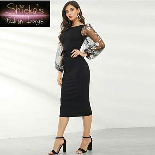 Black Pencil Dress Floral Mesh Sleeve with detached Belt