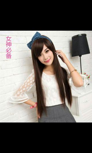 (NO INSTOCKS!) Preorder korean natural long side fringe straight ladies wig * waiting time 15 days after payment is made *Chat to buy if int