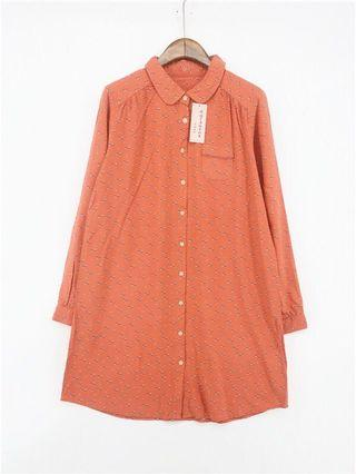 🚚 復古古著vintage.日本品牌棕橘色俏皮童趣幾何印花圖騰洋裝連身裙長版襯衫