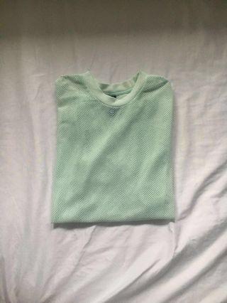 UO baby blue mesh top