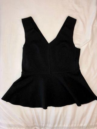 Topshop Peplum Black Shirt