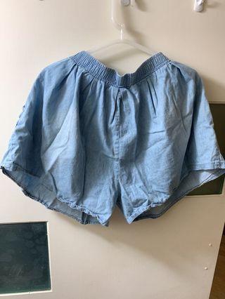 🚚 🙌淺藍鬆緊薄牛仔短褲