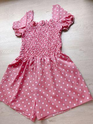 Brand new polka dot pink romper