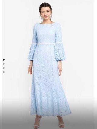 Zalia Lace Puff Sleeve Mermaid Dress