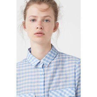 🚚 MANGO 清爽藍色格子薄襯衫