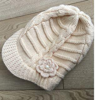 Handmade white and pink Knit Beanie knitted hat