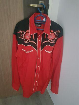 Red Black Western Shirt