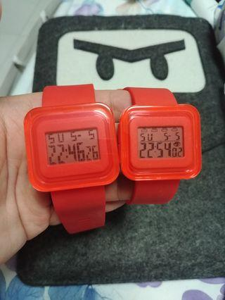 Couple Plastic Red Watch