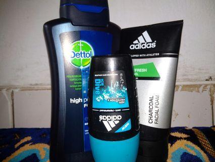 Deodorant, facewash Adidas n bodywash detol