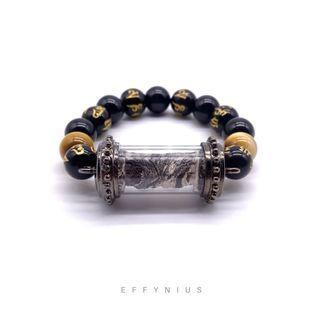 CUSTOMISED | Takrut Bracelet | Golden Tiger Eye 金虎眼石 | Black Onyx 黑瑪瑙 | Black Onyx Engraved Gold Six True Words 黑瑪瑙 刻金 六字真言 | Premium Natural Gemstone