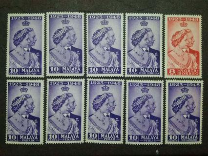 Malaya 1948 Silver Wedding 10c For 9 States & North Borneo - 10v MLH & MH Stamps