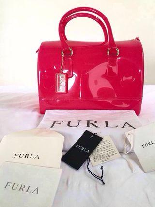 AUTHENTIC FURLA PINK JELLY DOUBLE HANDLE CANDY BAG