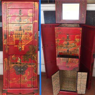 Jewellery Cabinet Oriental Lacquer Rouge -Free Delivery!