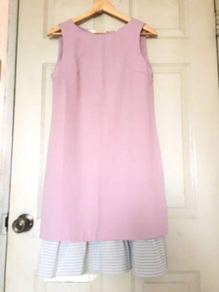 Anticlockwise 2-piece pink and grey dress