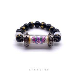 CUSTOMISED | Takrut Bracelet | Moonstone 月光石 | Black Onyx 黑瑪瑙 | Black Onyx Engraved Gold Six True Words 黑瑪瑙 刻金 六字真言 | Premium Natural Gemstone