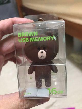 🚚 Line brown bear thumb drive original from Korea