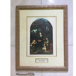 Old art print of Virgin of the Rocks by Leonardo Da Vinci