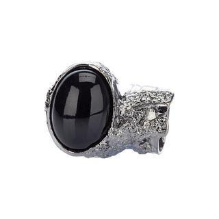 (NEW) Yves Saint Laurent (YSL) Arty Ring - Black Gem + Silver