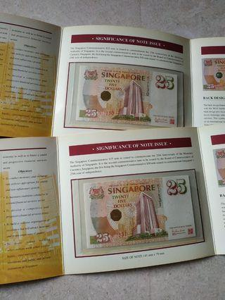 2 PCS 1996 SINGAPORE $25 MAS COMMEMORATIVE 017530-31 RUN UNC WITH FOLDER